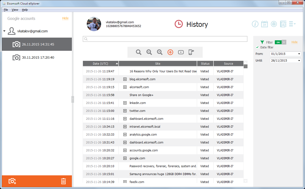 Elcomsoft Cloud Explorer: browsing history